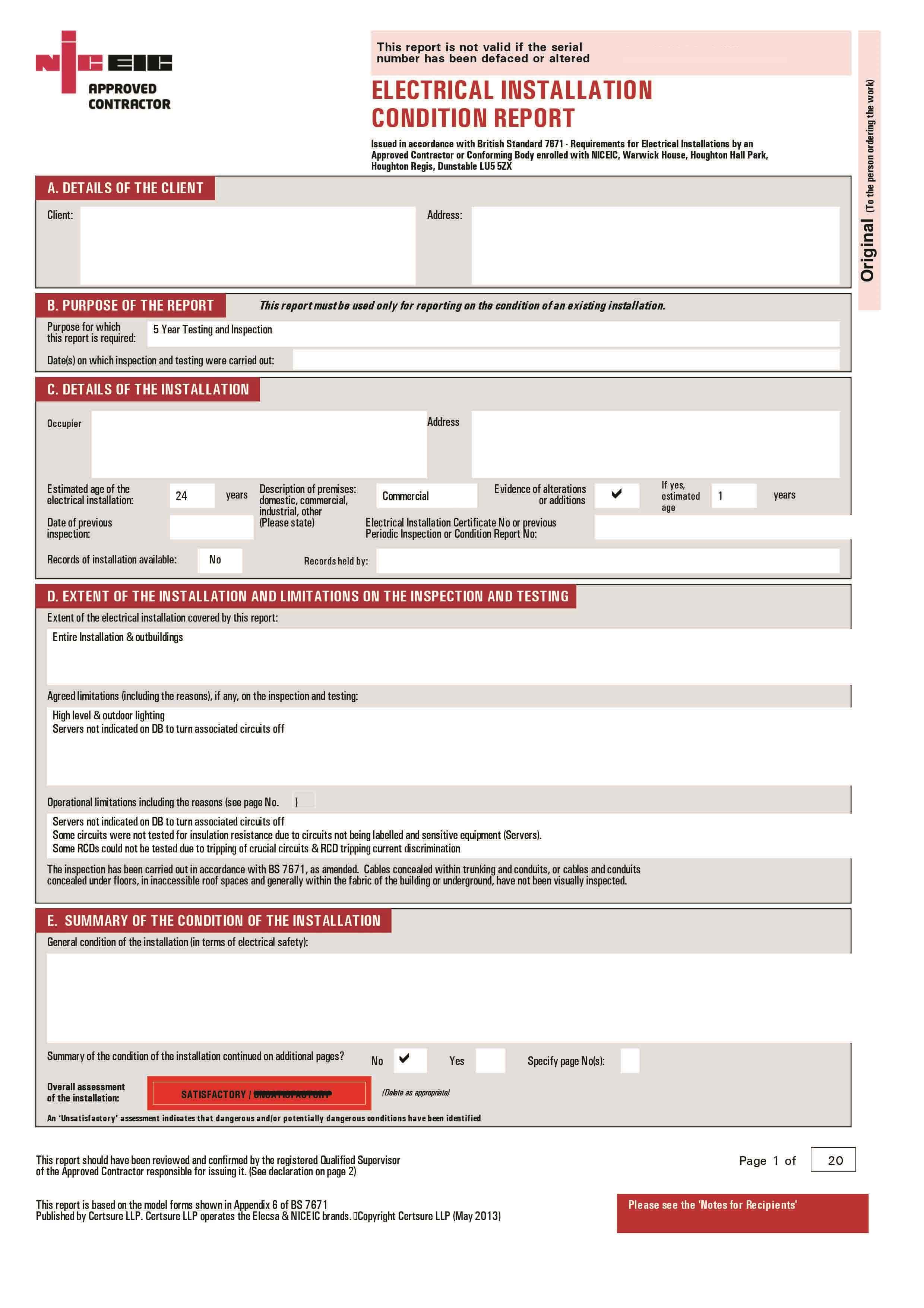 Electric Safety Certificate Domestic Britannia