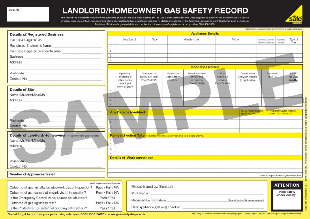 Gas Safe Certificate