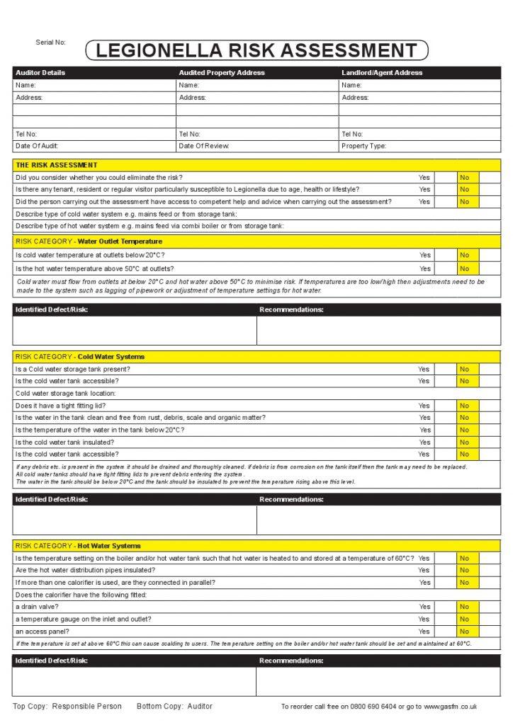 Facility Assessment Services : Britannia property services legionella certificate